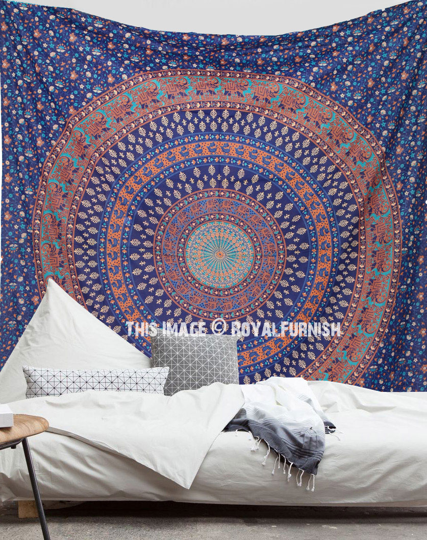 Vibrant Blue Leafs Printed Mandala Circle Wall Tapestry