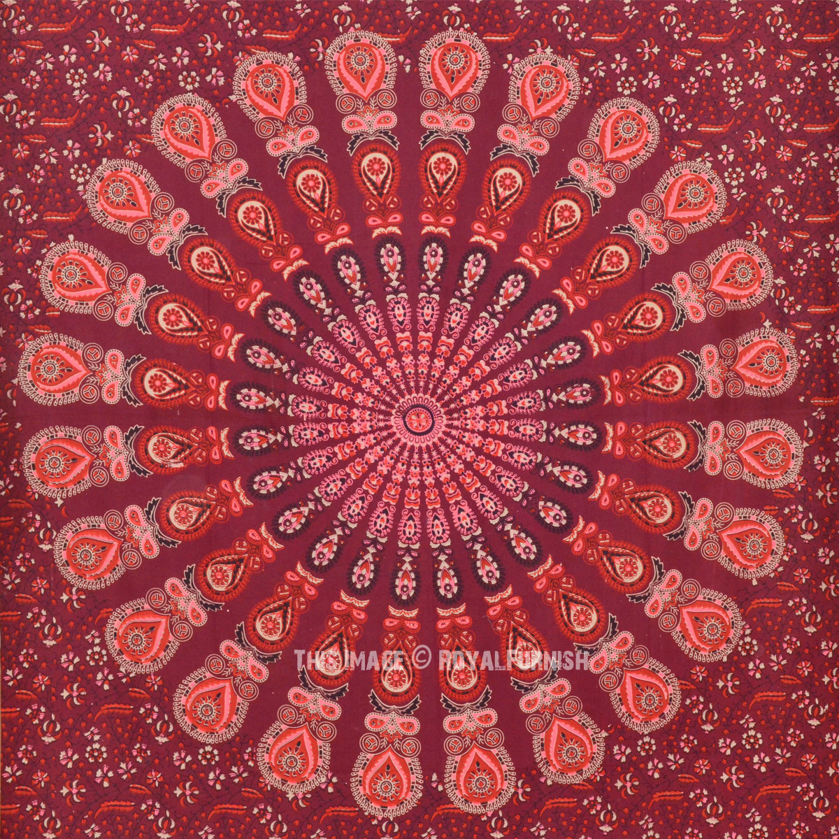 Vibrant Maroon Peacock Mandala Wall Tapestry Indian