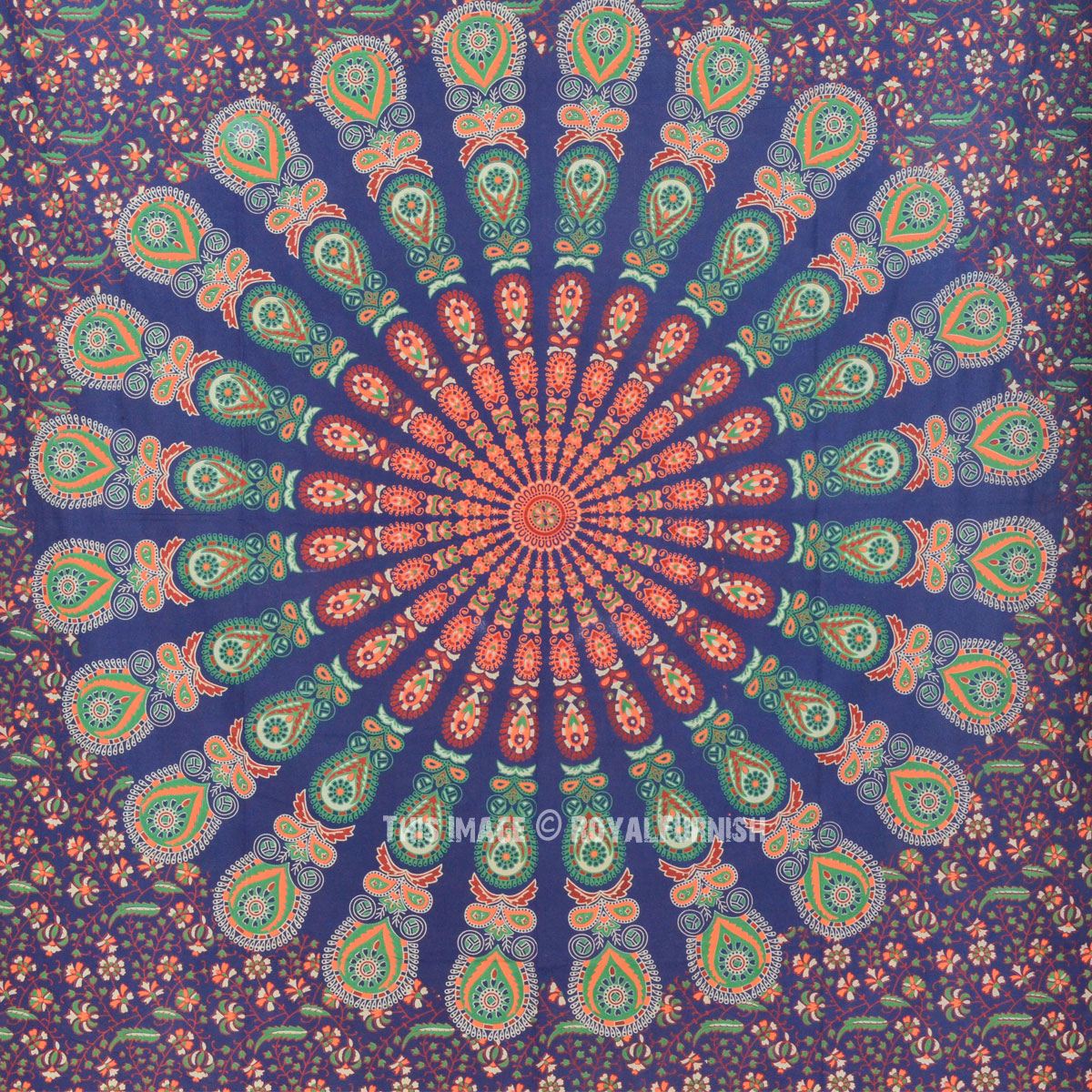 Small Blue Colorful Mandala Wall Tapestry Indian Mandala