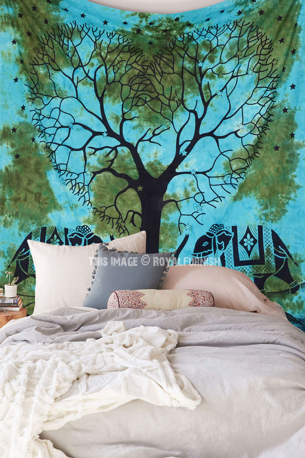 Multicolor Elephant Love Heart Tree Wall Tapestry Hippie