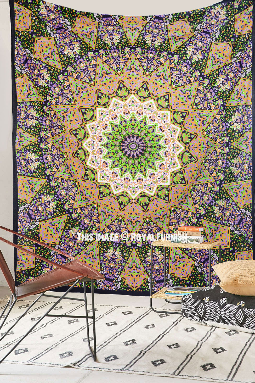 Blue multi elephants sun ombre mandala wall tapestry royalfurnish - Psychedelic Multi Indian 3 D Style Star Wall Tapestry Hippie Bedspread Royalfurnish Com