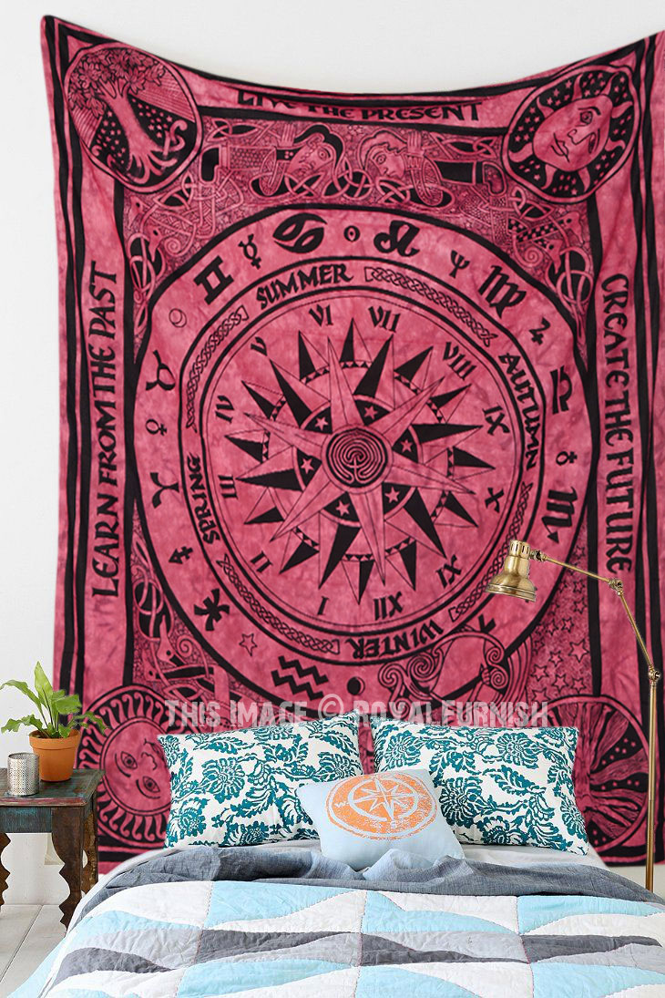 Maroon Tie Dye Cycle Of Ages Tapestry Wall Hanging Indian