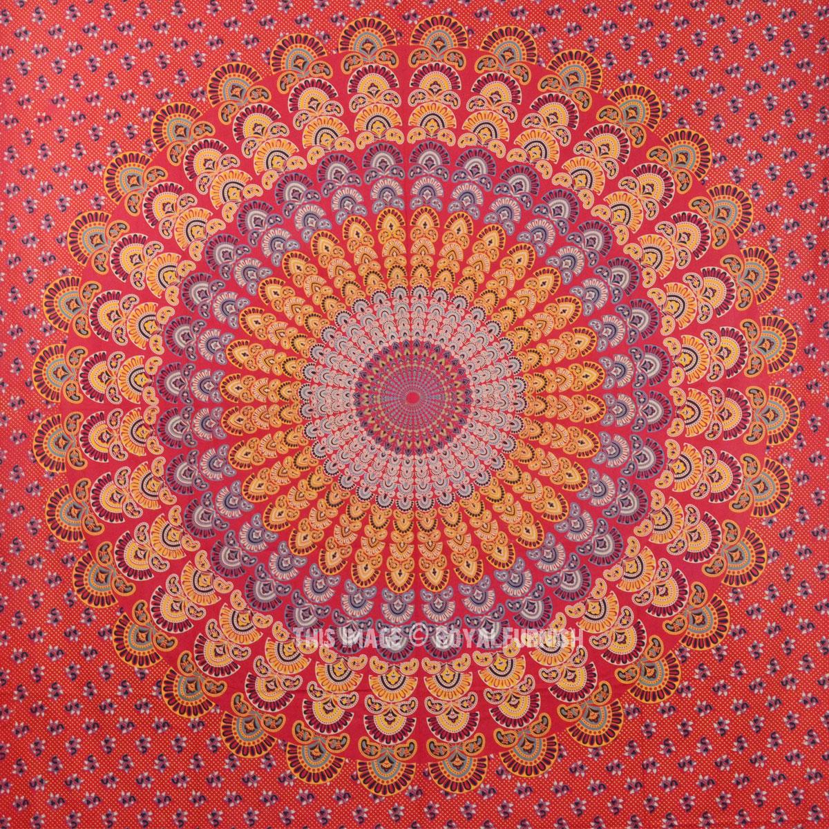 Red Multi Indian Medallion Mandala Wall Tapestry, Hippie Indian Throw - RoyalFurnish.com