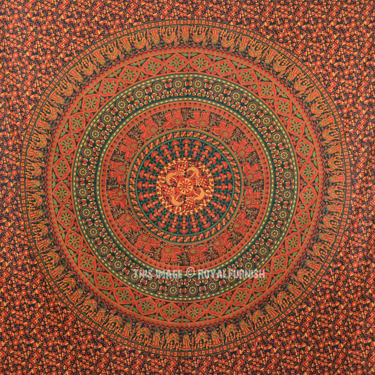Big Green Boho Chic Style Medallion Mandala Tapestry Wall ...