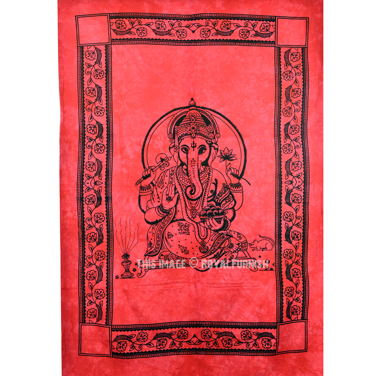 Red Hindu Elephant God Ganesha Tapestry Wall Hanging, Fringed Wall Tapestry ...