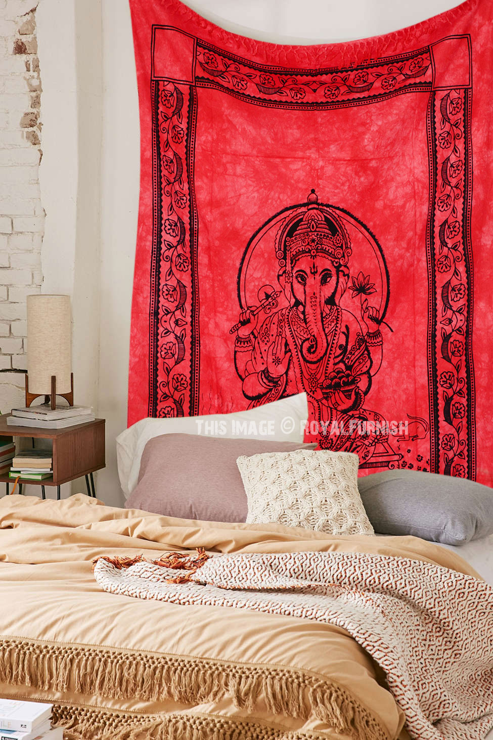 Red Hindu Elephant God Ganesha Tapestry Wall Hanging