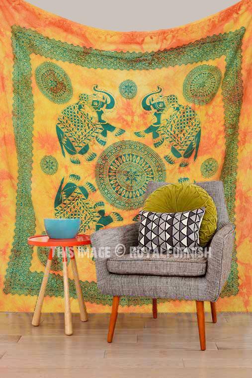 Yellow Large Four Elephant Mandala Wall Tapestry Tie Dye