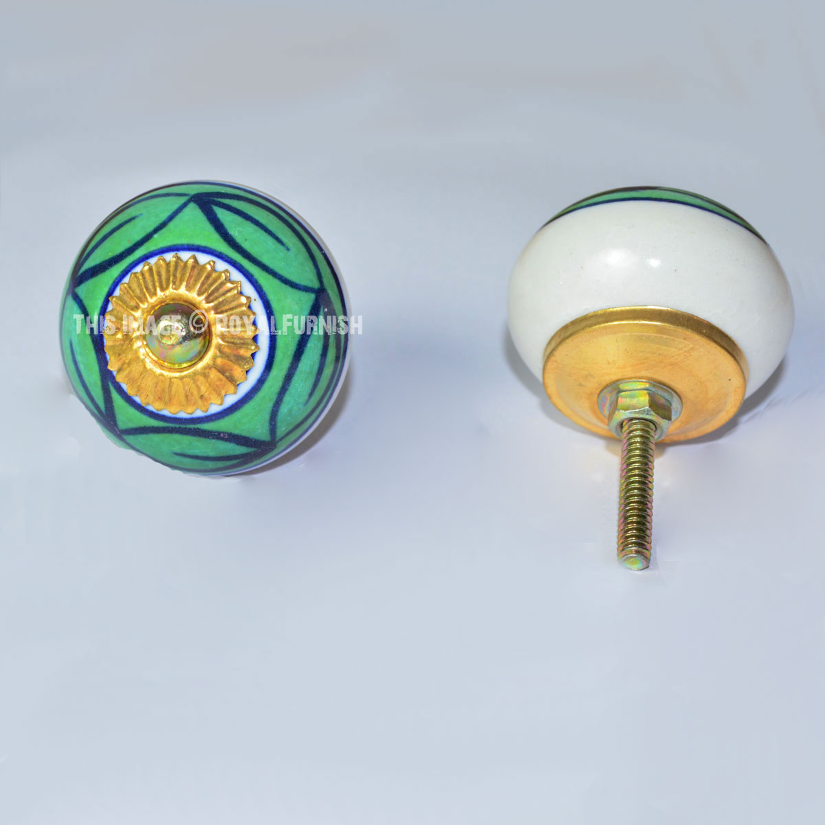 Kitchen Cabinet Knobs And Pulls Sets: Star Hand Painted Ceramic Kitchen Cabinet Door Pulls Knobs