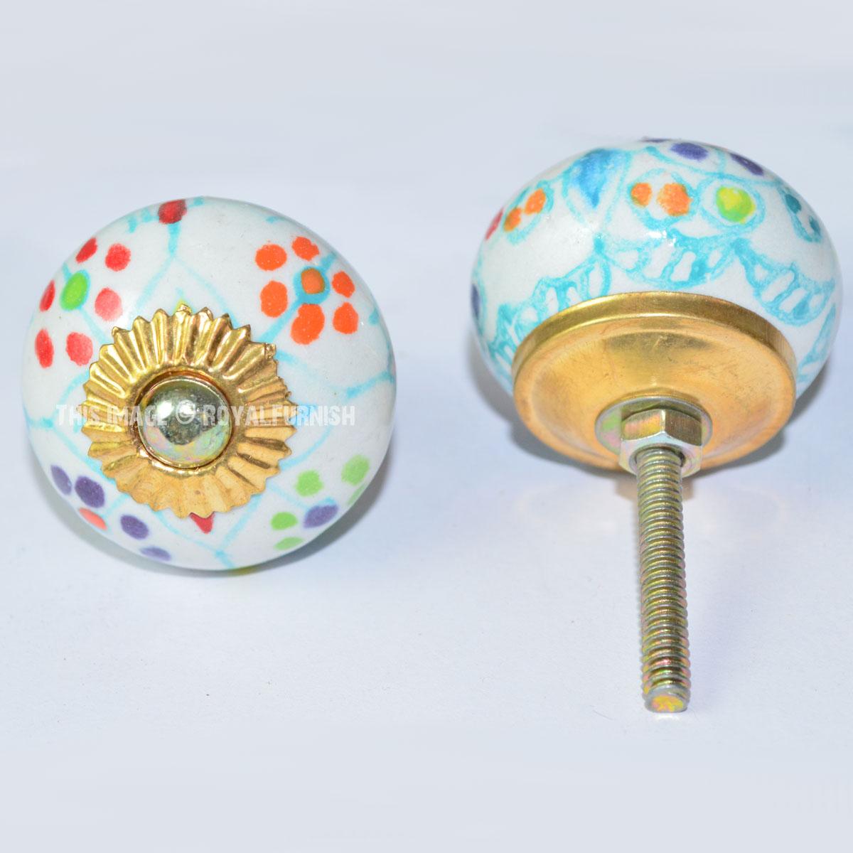 Multi hand painted dots ceramic cabinet door knobs set of for Painted ceramic cabinet knobs