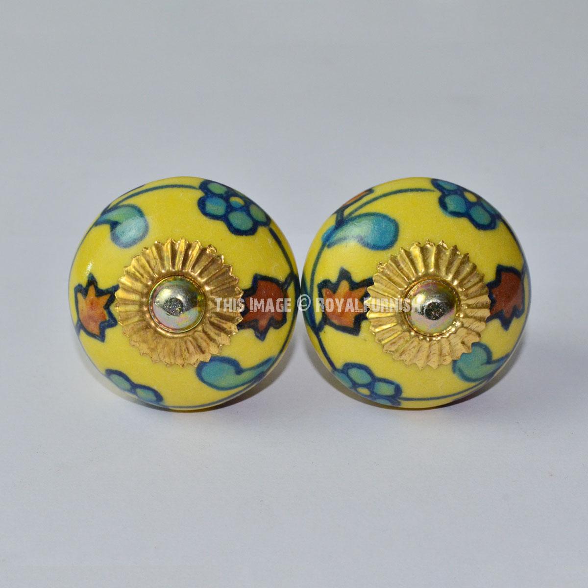 Set Of 2 Yellow Multi Hand Painted Flower Ceramic Door