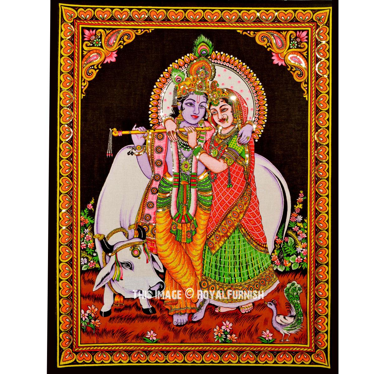 Fabric Wall Posters : Hindu radha krishna divine love fabric cloth poster wall