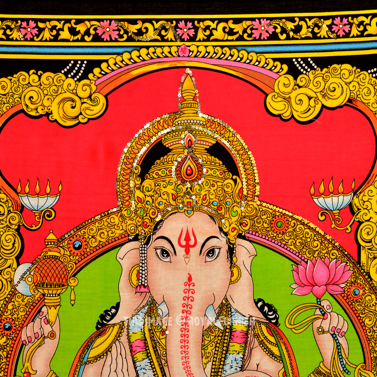 Colorful Hindu God Deity Ganesha Fabric Poster Size