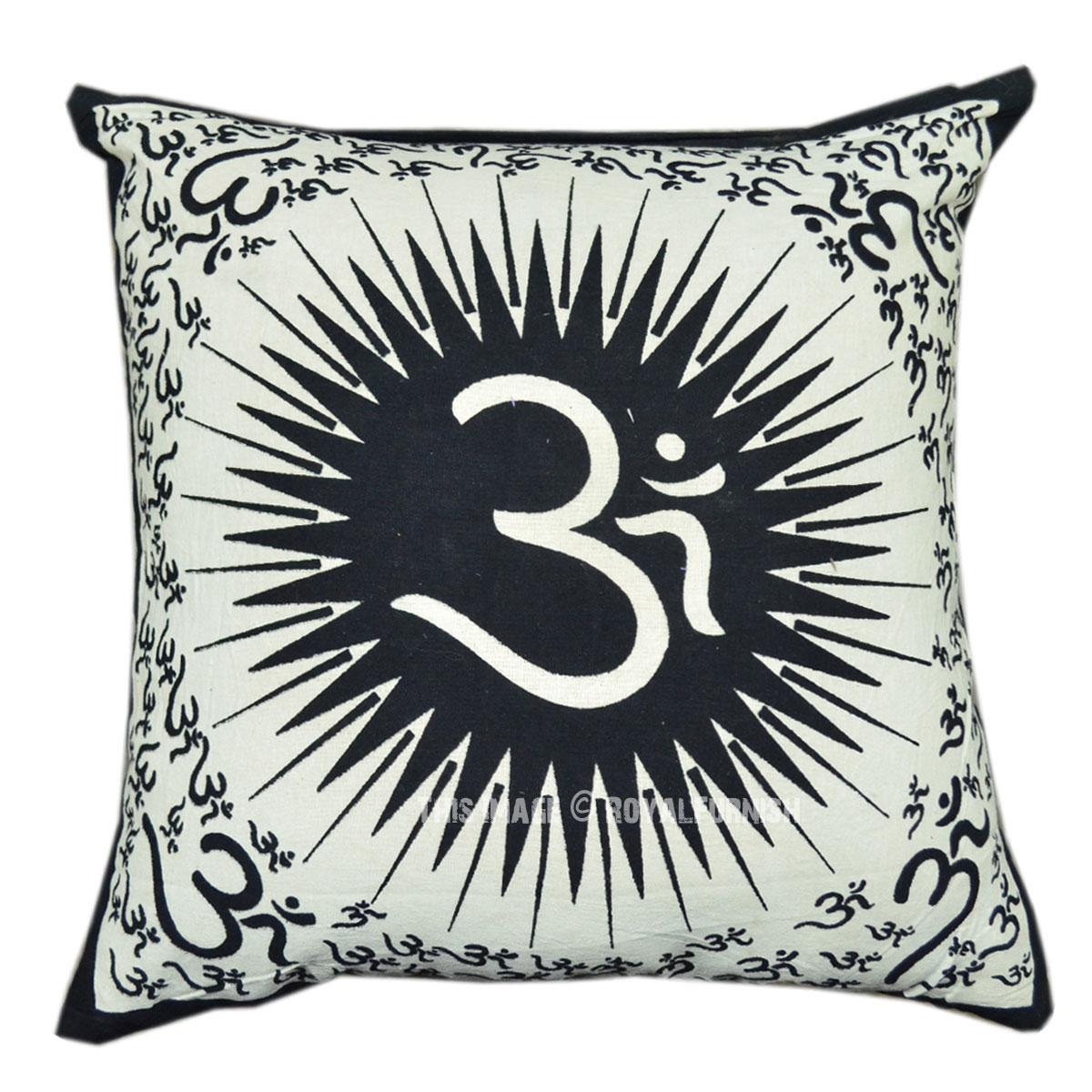 Black And White Decorative Throw Pillows : Black and White OM Aum Printed Decorative & Accent Throw Pillow Cover - RoyalFurnish.com