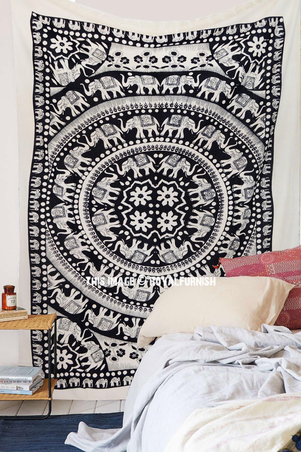 Black And White Fringed Elephant Mandala Tapestry Indian Bohemian Bedding Royalfurnish Com