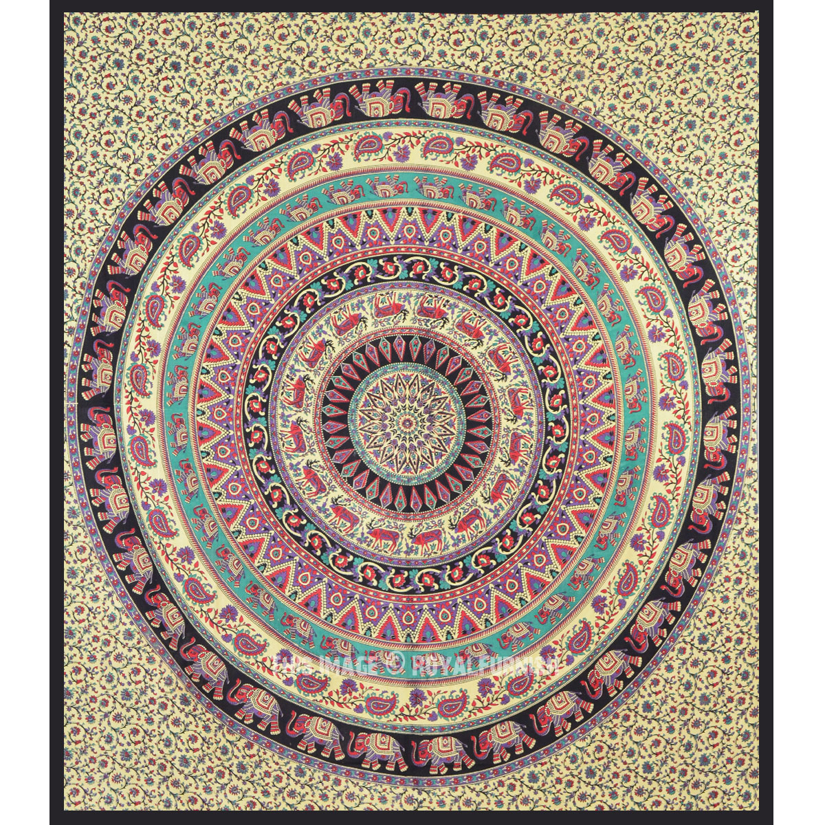 Large Bohemian Wall Tapestry, Indian Elephant Mandala Wall ...