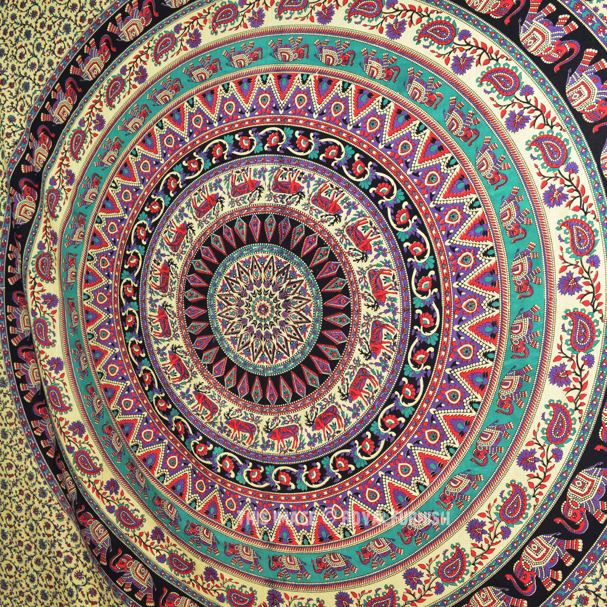 Large Bohemian Wall Tapestry Indian Elephant Mandala Wall