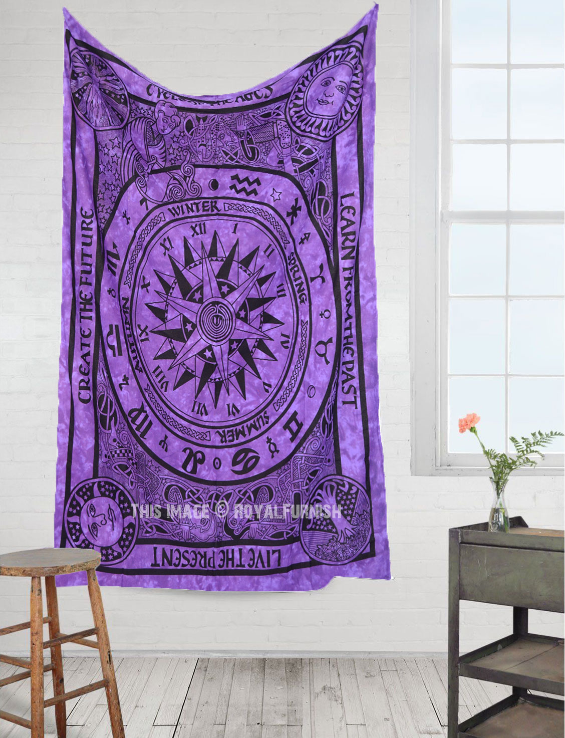 Purple Celtic Cycle Of Ages Tie Dye Tapestry Hippie Wall