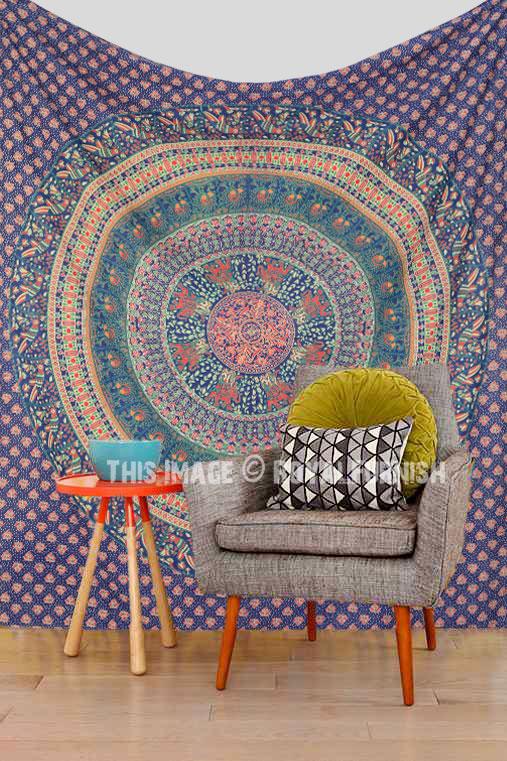 Large Blue Animal Birds Bohemian Mandala Wall Tapestry
