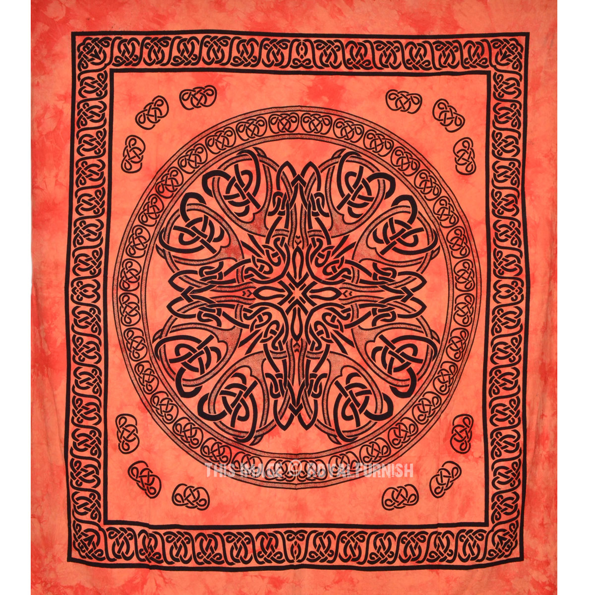 Orange Celtic Knot Tapestry Tie Dye Tapestry Wall Hanging