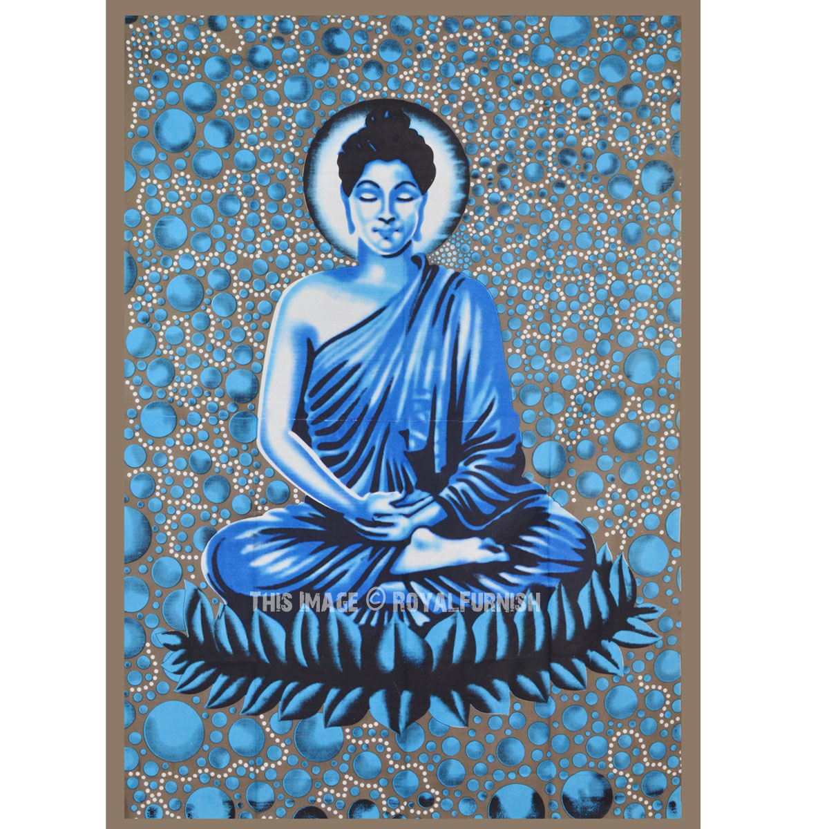 Small Blue Buddha Batik Buddhist Tapestry Wall Hanging