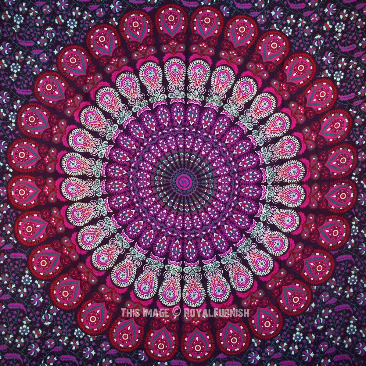 Purple Mandala Wall Tapestry Indian Cotton Bedding Twin