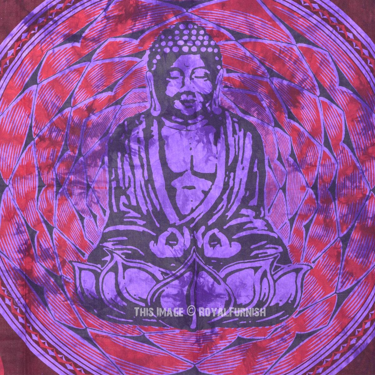 Small Purple Lotus Sitting Buddha Wall Tapestry Twin Tie