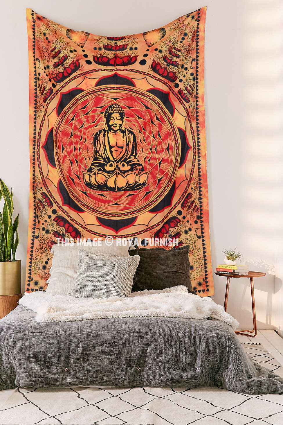 Orange Buddha Sitting Tapestry, Small Tie Dye Wall Hanging Bedspread - RoyalFurnish.com