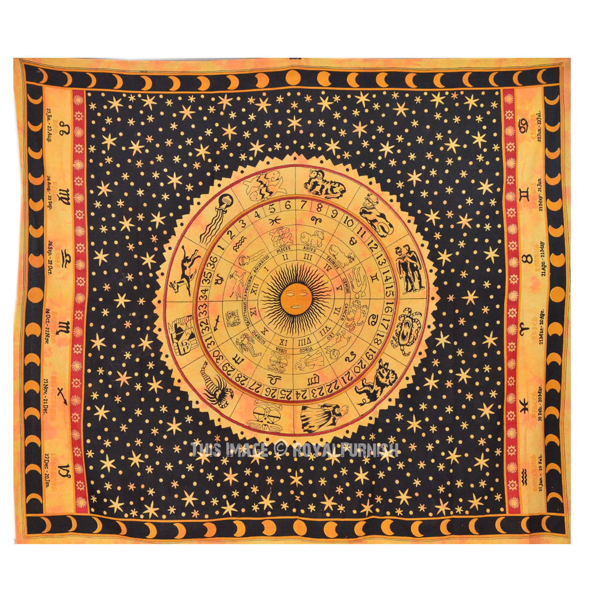 Large Yellow Zodiac Tapestry Queen Horoscope Astrology
