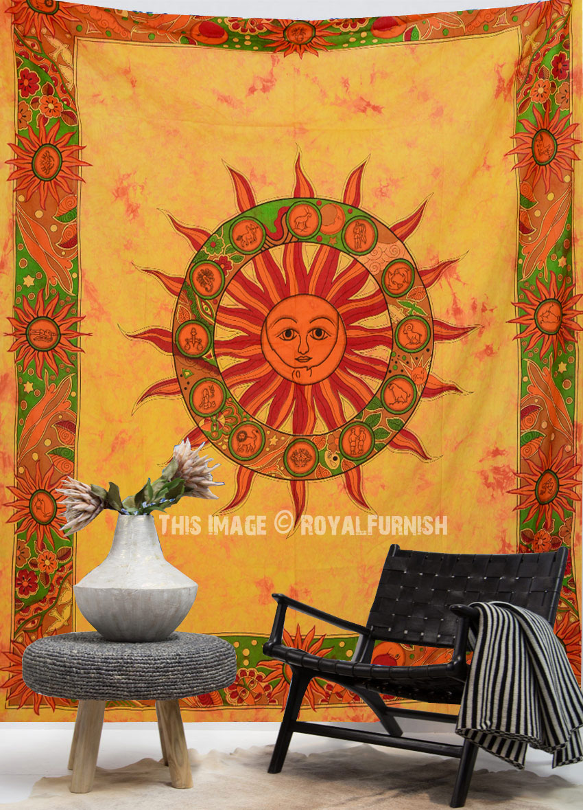 Orange Tie Dye Sun Tapestry Wall Hanging Bedding