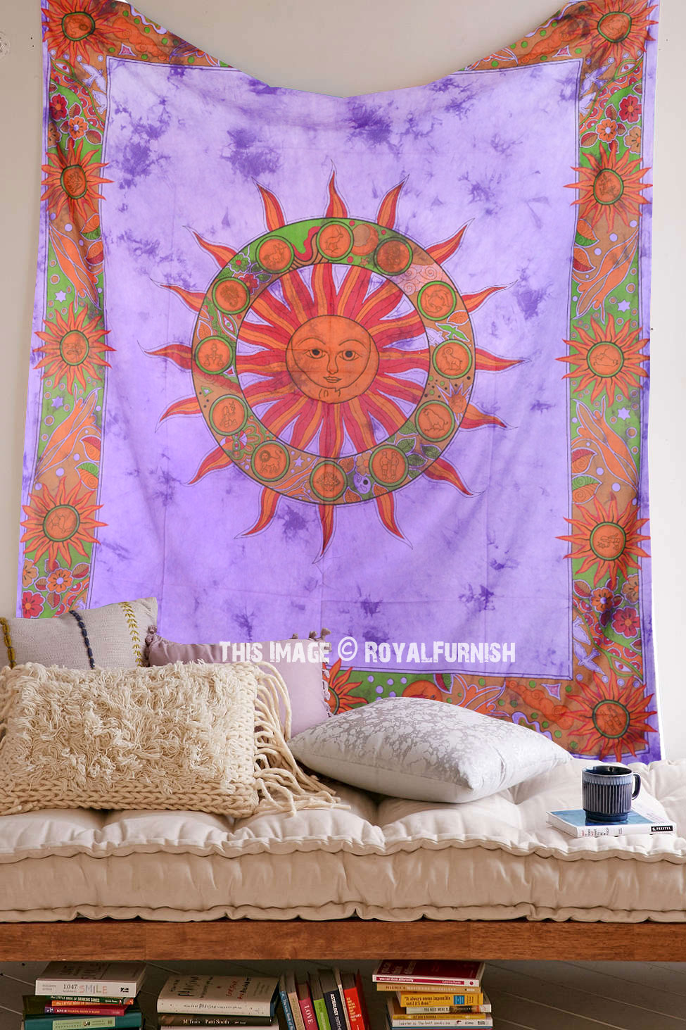 Purple Tie Dye Sun Tapestry Wall Hanging Royalfurnish Com