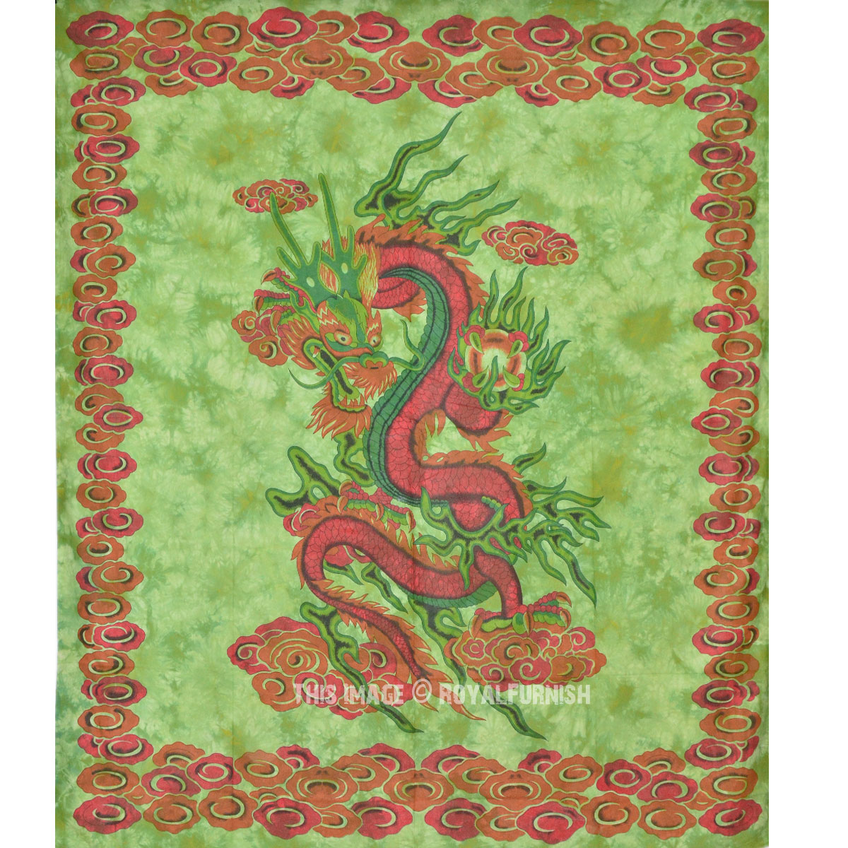Green Chinese Dragon Fly Tapestry Wall Hanging Tie Dye