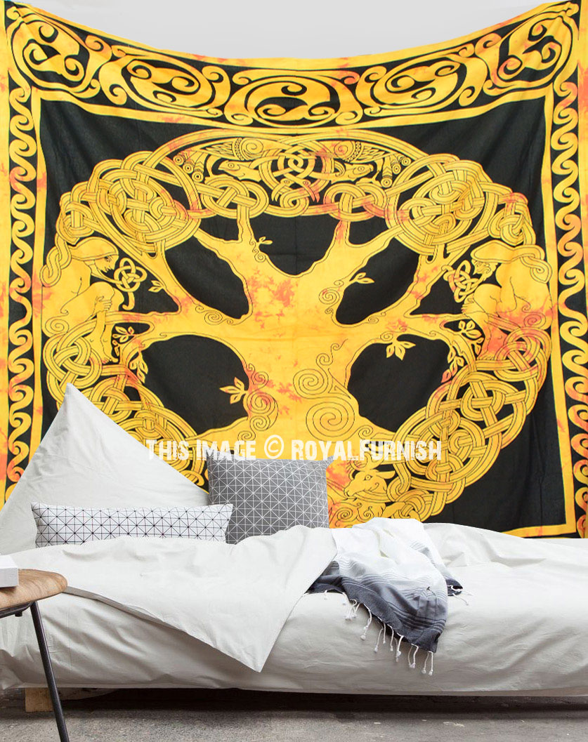 Indian Wonderful Wall Hanging Green Tree Of Life Pattern Small Tapestry Poster