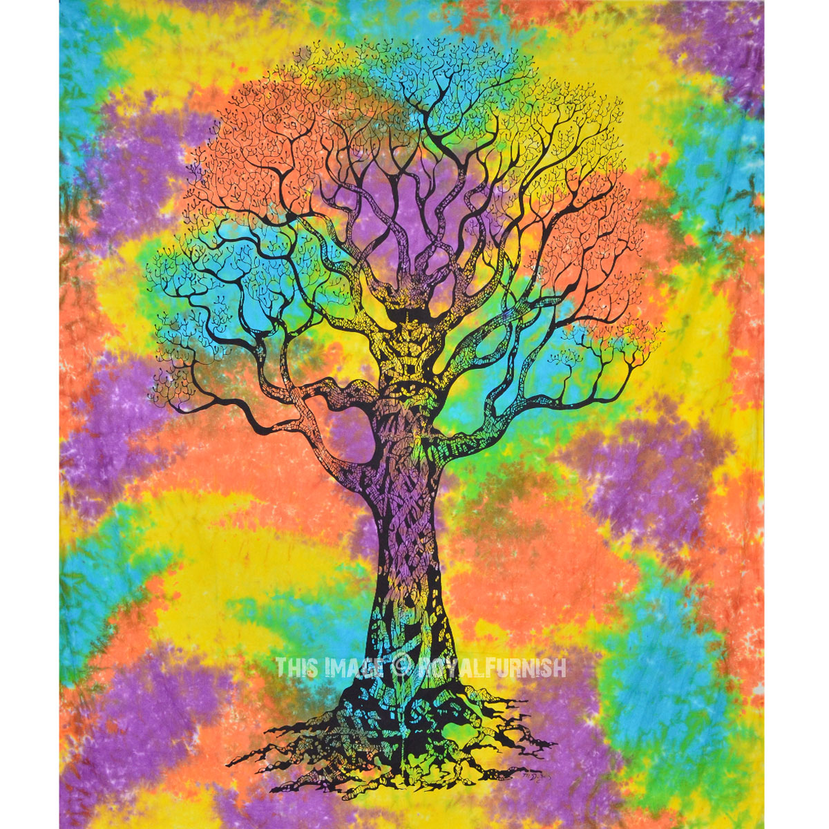 hippie tree of tapestry wall hanging tie dye bedding