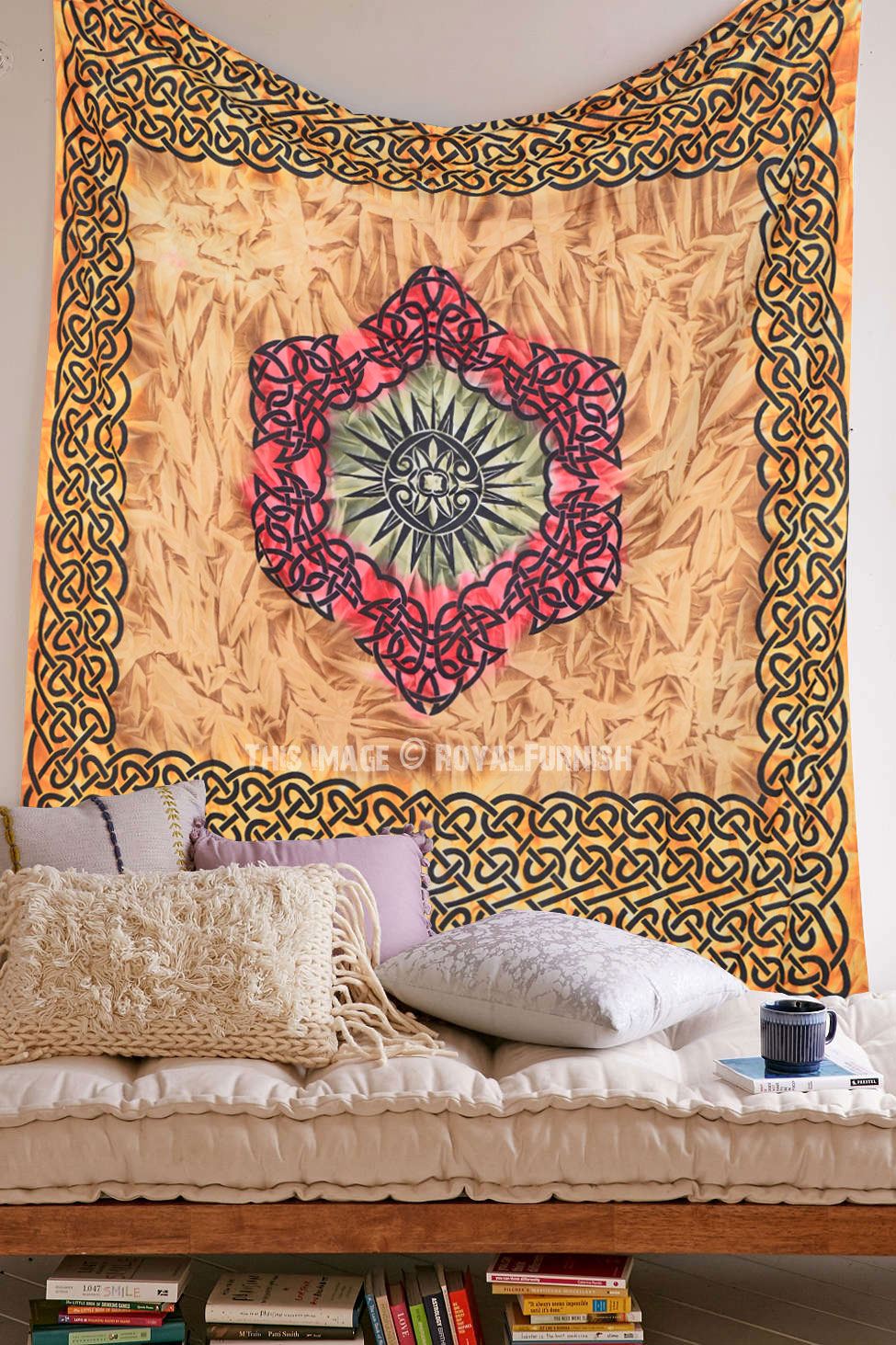 Multi Large Celtic Diamond Tapestry Wall Hanging, Tie Dye Tapestry Bedding - RoyalFurnish.com
