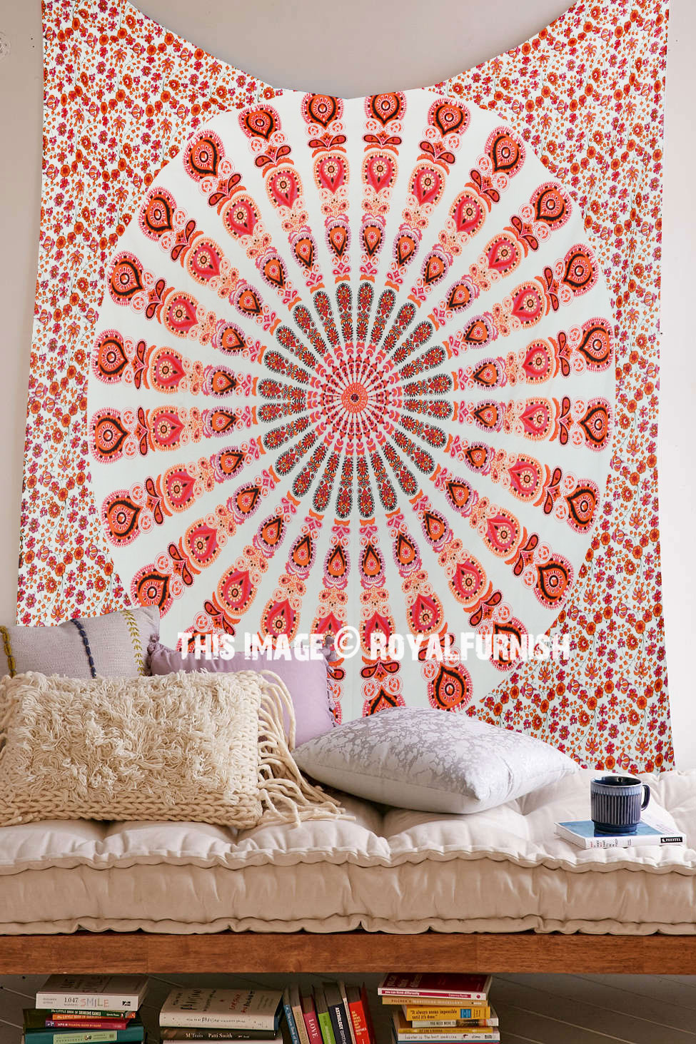 White Amp Orange Mixed Mandala Tapestry Hippie Boho Wall