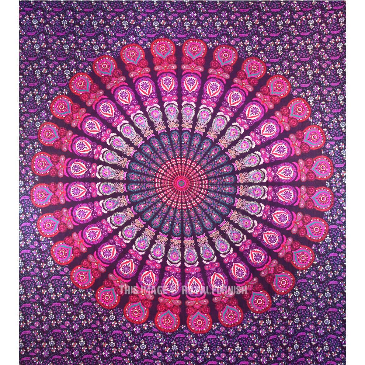Queen Pink Purple Indian Mandala Throw Tapestry Dorm