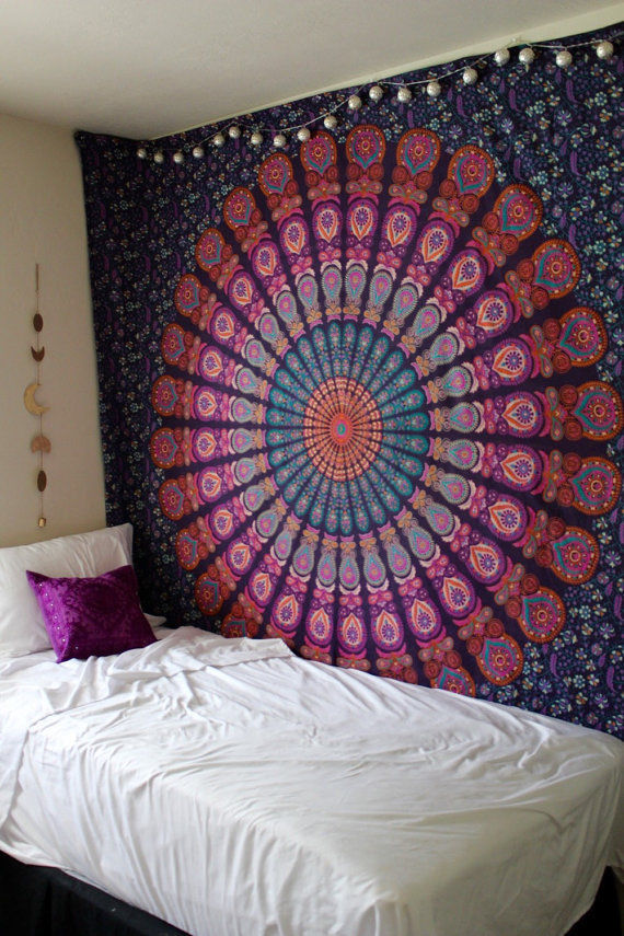 Queen Pink Purple Indian Mandala Throw Tapestry, Dorm Hippie Boho Bedspread Part 52