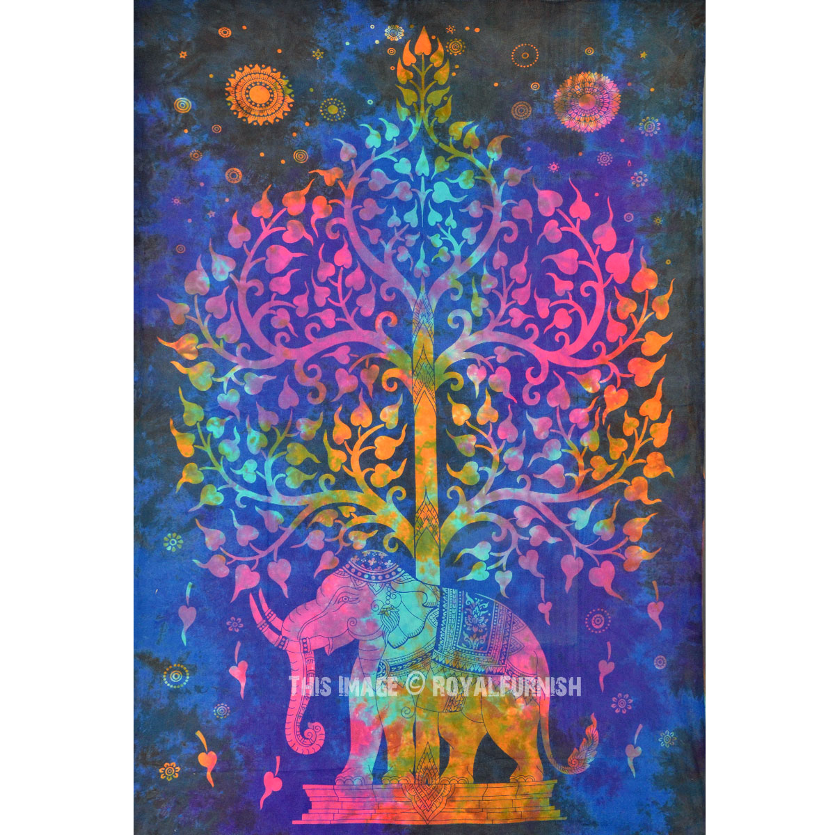 Small Blue Colorful Tie Dye Hippie Elephant And Tree