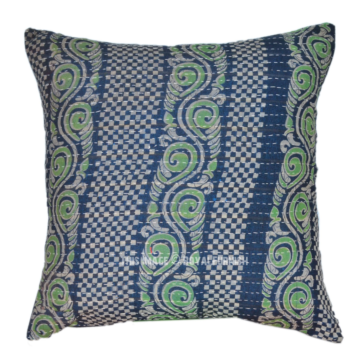 Decorative Quilted Pillow Covers : Decorative Outdoor Kantha Quilted Pillow Cover - RoyalFurnish.com