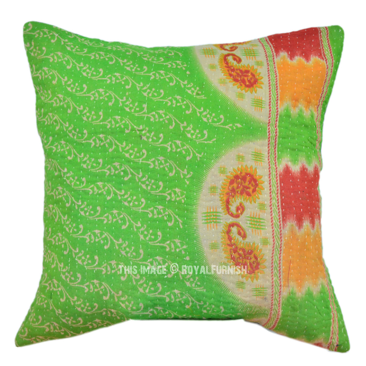 Light Green Decorative Pillow : 40x40 Light Green Multicolor Kantha Throw Pillow Cover - RoyalFurnish.com