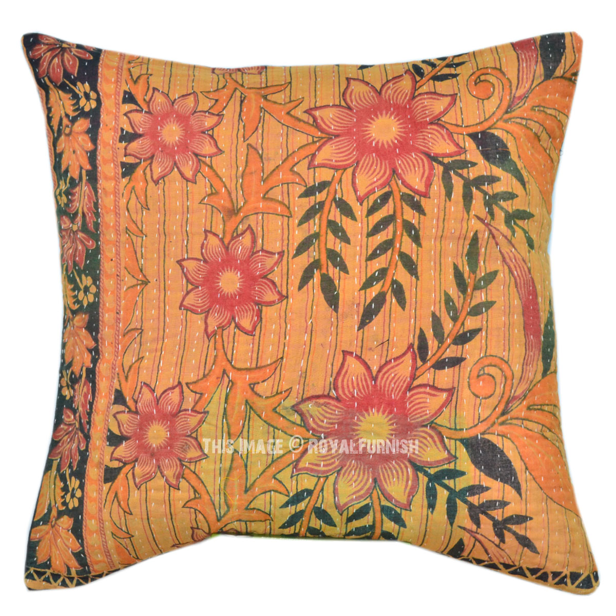 16x16 Decorative Pillow Covers : 16x16 Indian Kantha Quilted Pillow Cover - RoyalFurnish.com