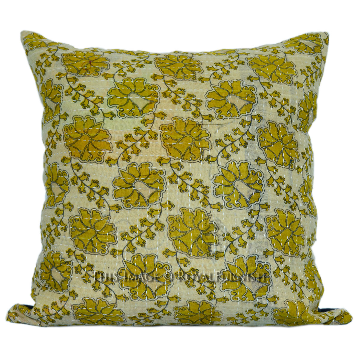 Vintage Decorative Pillow : 16x16 Decorative Vintage Kantha Quilt Square Pillow Case - RoyalFurnish.com