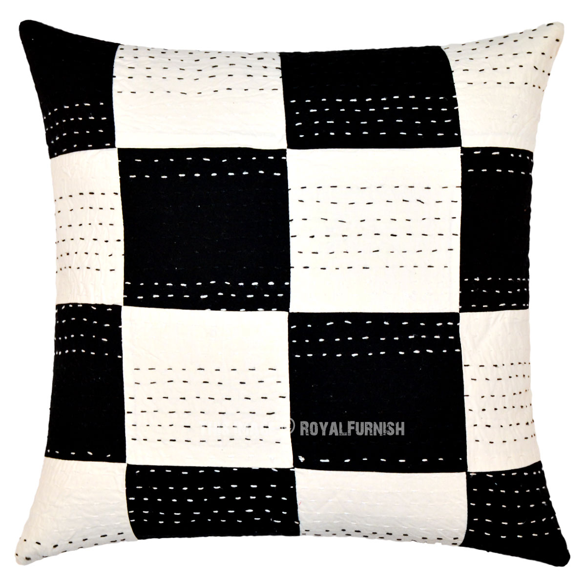 Throw Me A Pillow Coupon Code : Decorative Black & White Squares Kantha Throw Pillow Case 40
