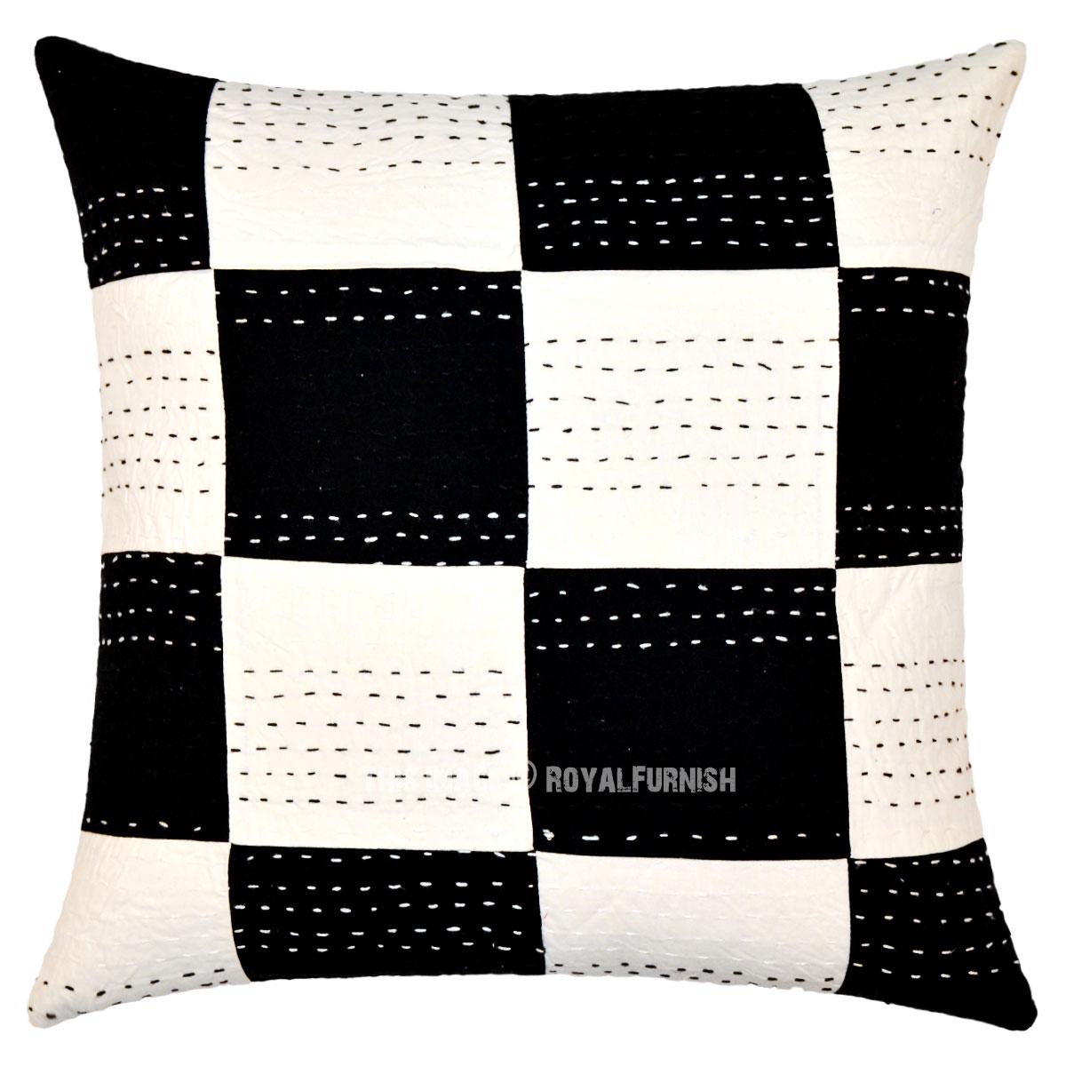 Throw Me A Pillow Coupon Code : Decorative Black & White Squares Kantha Throw Pillow Case 40