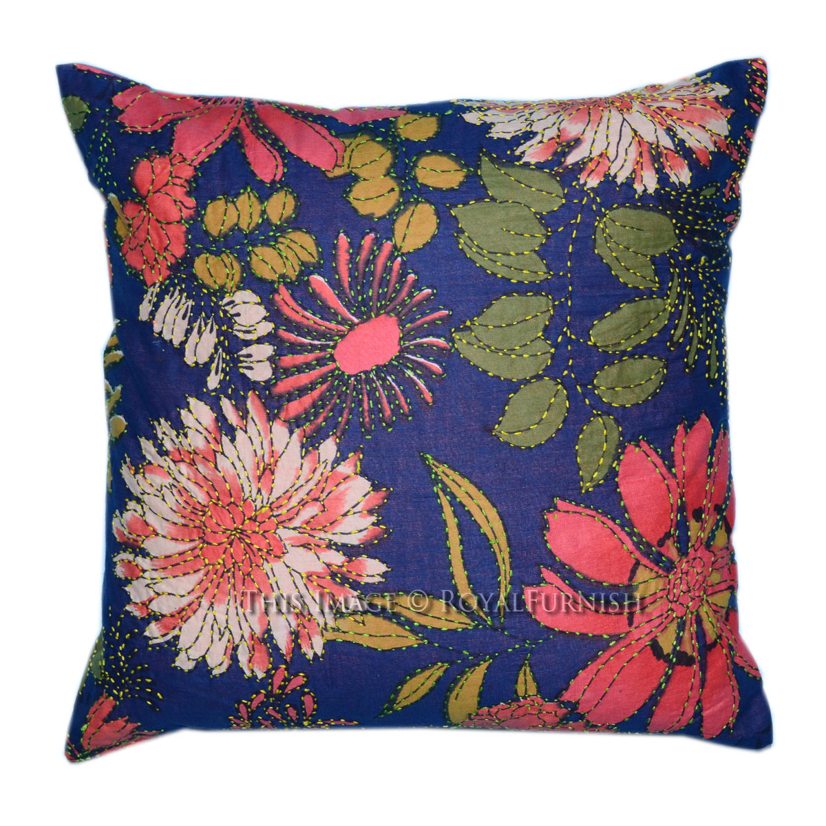 Embroidered Throw Pillow Covers : Decorative Indian Kantha Embroidered Cotton Throw Pillow Cover - RoyalFurnish.com