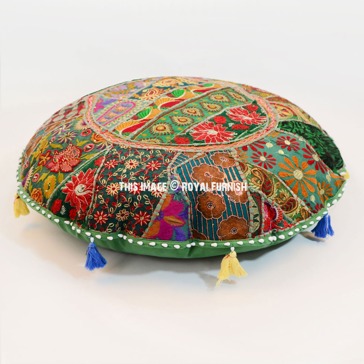 Oversized 71 Cm. Vintage Patchwork Round Floor Seating Pillow Cover - RoyalFurnish.com