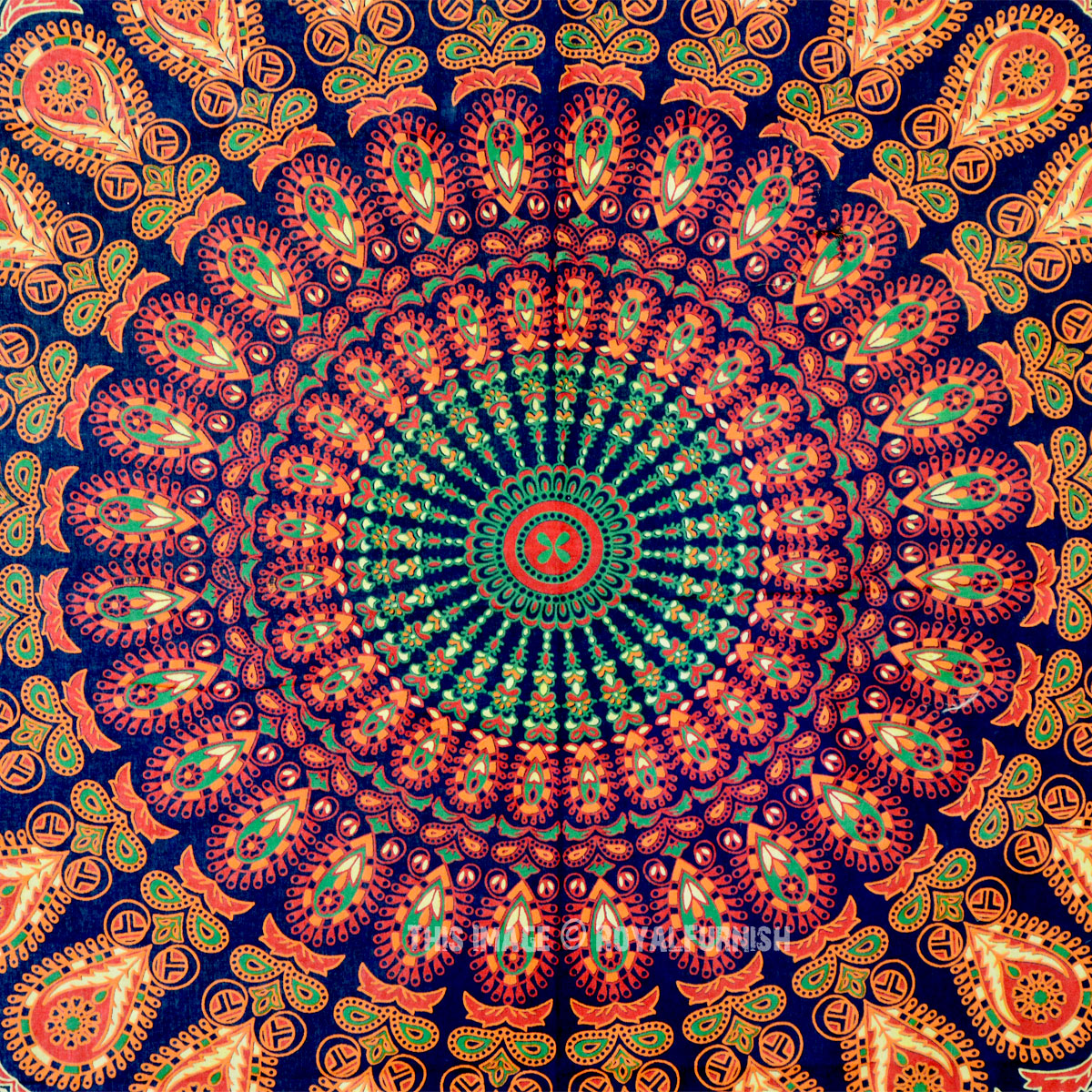 Green Small India Psychedelic Bohemian Mandala Tapestry
