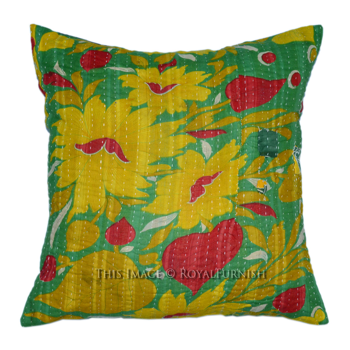 Vintage Decorative Pillow : 40x40 Cm. Decorative & Accent Vintage Kantha Throw Pillow Case - RoyalFurnish.com