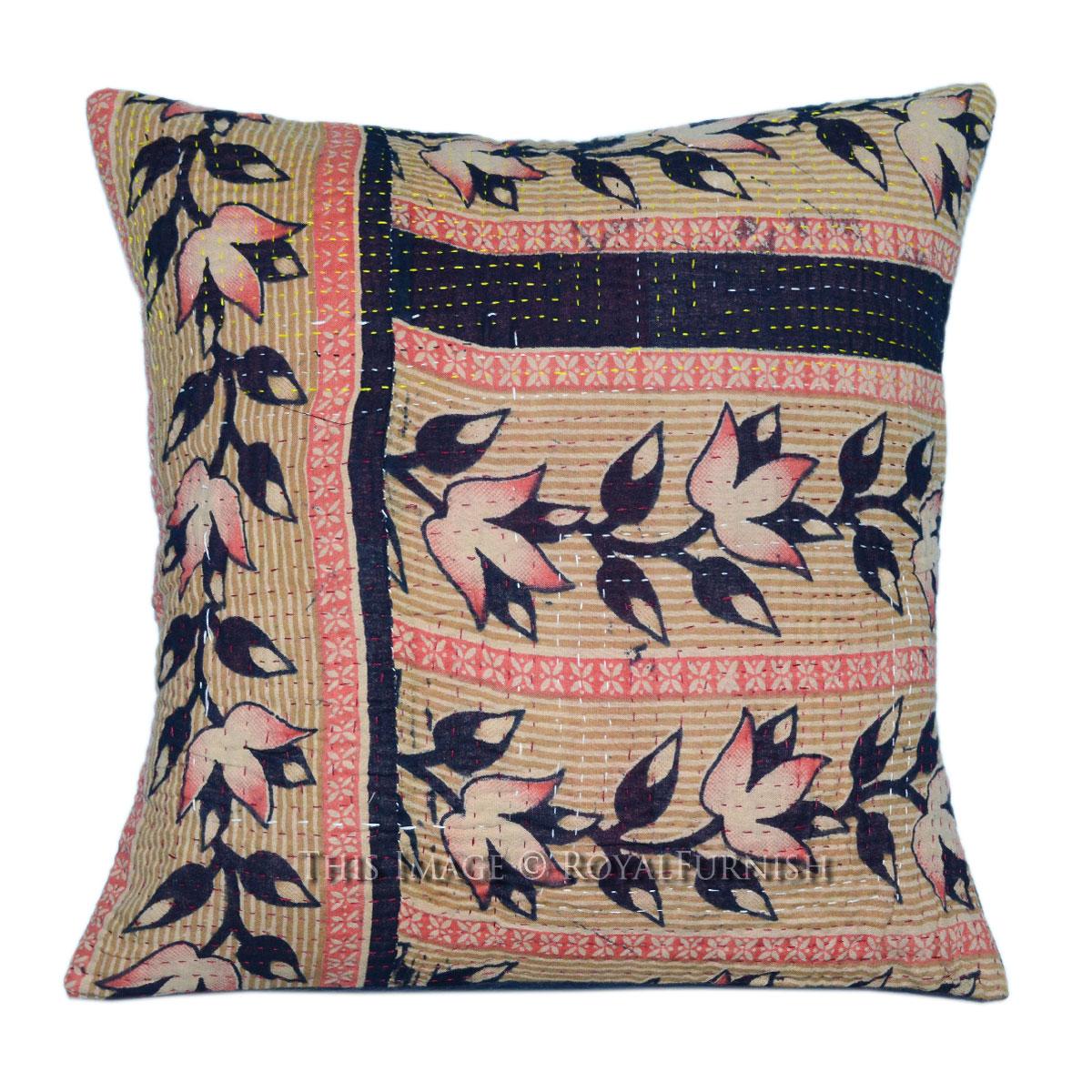 40x40 cm Red Multicolor Old Vintage Patchwork Kantha ...