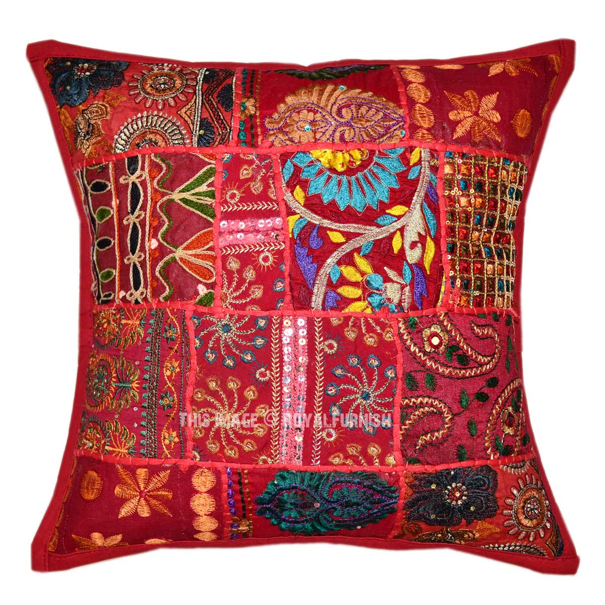 Decorative Boho Accent Unique Pretty Patchwork 16X16 Square Throw Pillow Cover - RoyalFurnish.com